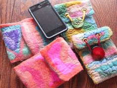 Art Felted iPod and cell phone cases - cute idea.