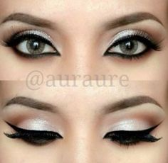 Sharp lines and soft colour. Dramatic eye makeup.