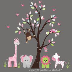 "Safari Animals Nature Removable Reusable Wall Decals Kids Nursery Art 85"" x 95"""