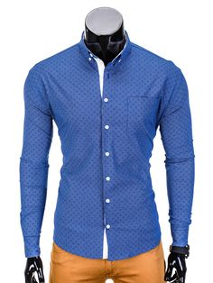 KOSZULA K388 - GRANATOWA - Sklep Ombre Types Of Shirts, Shirt Dress, Mens Tops, Dresses, Fashion, Vestidos, Moda, Shirtdress, Gowns