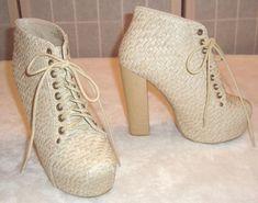 Shiekh Sz 5.5 Beige Leather Weave Platform Lace Up High Heel Booties #Shiekh #PlatformsWedges #Casual