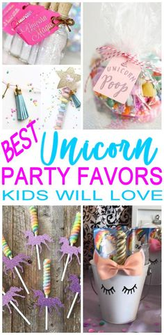 Unicorn party favors! Great and cool party favors for a unicorn theme party (birthday, bridal shower, baby shower and more). DIY ideas, party favors bags, goodie bags and more of the best unicorn party favor ideas. #bridalshowerpartyfavorideasdiy