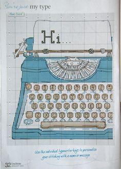 Typewriter Cross Stitch Pattern - Cross Stitcher Magazine 2012