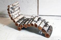 Diy: Log lounge chair- USE TWIGS TO MAKE THIS FOR A FAIRY GARDEN