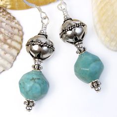 Turquoise Magnesite Earrings Bali Style India Beads Handmade Jewelry @Pretty Gonzo - Jewelry on ArtFire