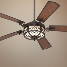 """54"""" Hermitage™ Golden Forged Outdoor Ceiling Fan - Rustic Ceiling Fan - Amazon.com"""