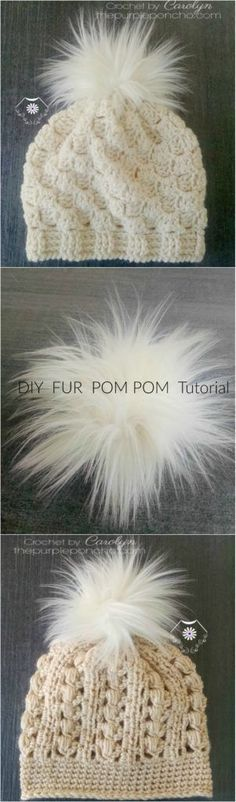 DIY Fur Pom Pom – Tutorial! on thepurpleponcho.com Featured hats are Pretty In Pink hat (top) and Misty Bay hat (bottom).