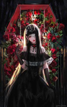 Dark Anime Girl, Manga Anime Girl, Cool Anime Girl, Pretty Anime Girl, Beautiful Anime Girl, Kawaii Anime Girl, Gothic Anime Girl, Anime Girls, Cosplay Anime