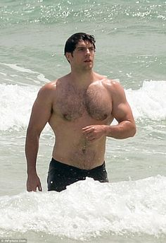 Hunky hulk: The actor may not have the chiselled abs of Superman at the moment, but his muscular broad shoulders and chest made for an impressive sight