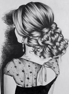 In my society women's treated like a book if you didn't like the wrapping then you wouldn't read it, and that way the contents lost. Girly Drawings, Pencil Art Drawings, Art Drawings Sketches, Realistic Drawings, Hair Sketch, Dance Paintings, Front Hair Styles, Beautiful Sketches, Portrait Sketches