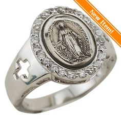 Sterling Silver Miraculous Medal Ring, w/ Crosses, $112.50.  #catholiccompany