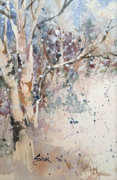 Watercolor Painting - Winter Scene by Sue Dion