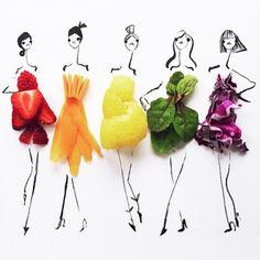 Awesome Instagram account of illustrator Gretchen Roehrs that combines food and fashion.
