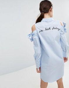 Платье-рубашка с большими манжетами и вышивкой ASOS