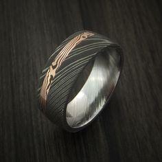 Damascus and 14k ROSE Mokume Gane GOLD Ring Wide Custom Made SHAKUDO - Revolution Jewelry - 4
