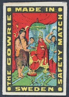 Swedish matchbox label - The Gowrie