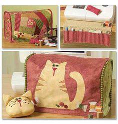 Funda máquina de coser. Sewing space machine cover, tool caddy and pin cushion ideas