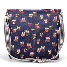 Cartoon Owl Print Color Strap Canvas Cross Body Messenger Cloth Shoulder Bag