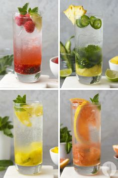 Nothing says summer quite like a mojito. These 4 recipes take a fruity spin on the much loved cocktail. No skills required. No special equipment needed. Just fruit and rum! Cold Drinks, Alcoholic Drinks, Beverages, Christmas Cocktails, Party Treats, Mojito, Nice Things, Cocktail Recipes, Happy Hour