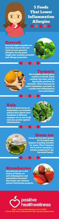 5 Foods That Lower Inflammation Allergies – Positive Health Wellness Infographic