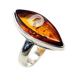 'Soothing Glow' Sterling Silver Natural Baltic Amber Ring, Size 6