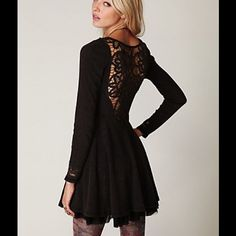 Free People lace battenburg dress Like new lace battenburg dress by Free People. Beautiful lace details on the neckline and cuffs. This is more of a washed black/very dark charcoal than black. Worn once for a Halloween party so the tag at the back has been cut out. Free People Dresses