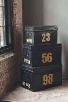 Vintage black metal trunks