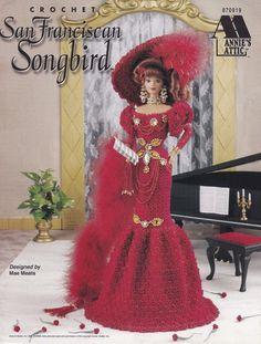 San Franciscan Songbird, Annie's Attic Fashion Doll Clothes Crochet Pattern Booklet 870919 Fingerless Gloves Dress Petticoat