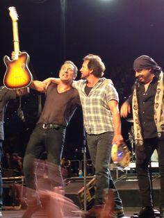 Via Mathew Marcon: Springsteen at Brisbane, High Hopes Tour, with Eddie Vedder.