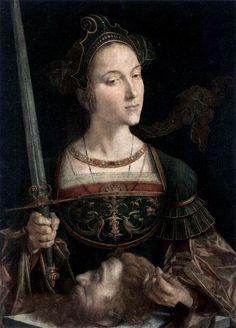 the folds! also her headpiece, i mean. (VERMEYEN, Jan Cornelisz.Judith with the Head of Holofernes,c. 1525)