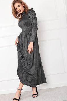 Sukienka maxi z bufkami  -srebrna nitka Retro Style, Retro Fashion, Dresses With Sleeves, Long Sleeve, Model, Gowns With Sleeves, Mathematical Model, Retro Styles, Sleeve Dresses
