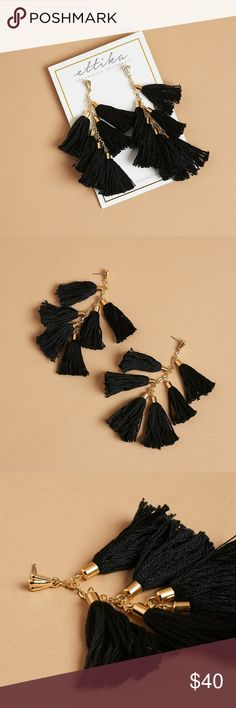 Ettika Daydreamer Black & Gold Tassel Earrings These earrings are 18kt gold plated, with cotton thread, brass caps, alloy and surgical steel posts, and they are E-coated to prevent discoloration.  Retail $58 https://www.ettika.com/products/daydreamer-tassel-earrings-in-black-and-gold Ettika Jewelry Earrings
