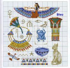 point de croix femme égyptienne et accessoires - cross stitch egyptian lady and accessories