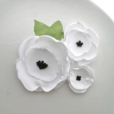 White Fabric Flower Brooch Corsage. $18.00, via Etsy.