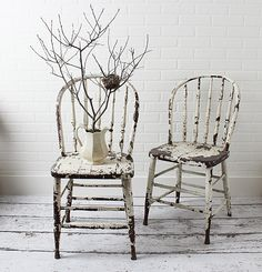Pair of Vintage Bow Back Chairs in Chippy Old from Zinnia Cottage.