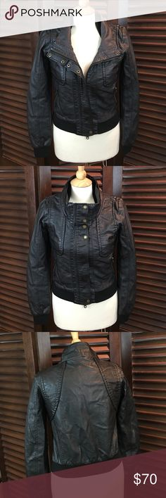 """UO Members Only Black Vegan Leather Bomber Jacket Brand new with tags.  This jacket has a full zip front with two zipper pockets.  It also has an interior chest pocket.  Measurements are:  chest - 18"""" from armpit to armpit,  waist - 17"""" across,  jacket length - 20 1/2"""". members only urban outfitters Jackets & Coats"""