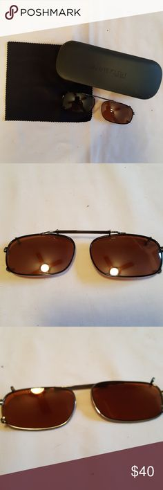 1333b7d905b Anne Klein NY clip on sunglasses with hard case Anne Klein NY clip on  sunglasses with