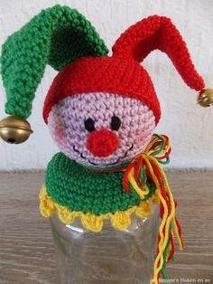 Amigurumi Jar Decorating Clown Making 1 Crochet Baby, Knit Crochet, Clown Hat, Bird Masks, Holiday Crochet, Jar Lids, Mason Jar Crafts, Crochet Projects, Crochet Necklace