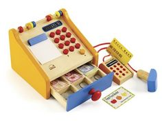 New (again) in store: Wooden Cash Registers finally back in stock. Includes scanner and a wooden pin pad.