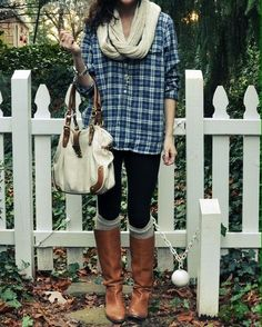 Outfit #33 - Black Tank Top - Blue Flannel - Long Dark Gray, Cable Knit Cardigan - Black Leggings - Black Boots - Beige Infinity Scarf