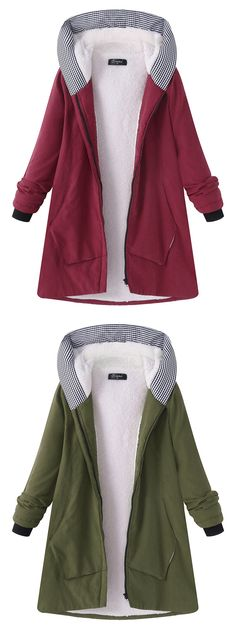 O-NEWE Casual Pure Color Hooded Pocket Coats