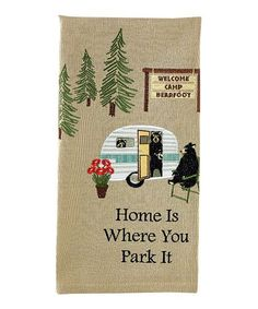 Enhance the relaxed atmosphere of your home with these leisure-themed dish towels made of thirsty cotton to add a smile to the job of drying the dishes. Vintage Travel Trailers, Parking Design, Camping, Dining Table In Kitchen, Dish Towels, Towel Set, House Design, Dishes, Quilts