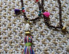 Yoga Buda borla collar Mala gitano hippie Boho por BeadStonenSkin