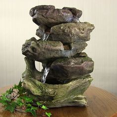 indoor tabletop falls rock log water fountain with led for office desktop home decor water feature - Fountain For Home Decoration