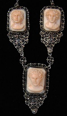 AMAZING ANTIQUE RARE ROSA PALLIDO CORAL CAMEO NECKLACE