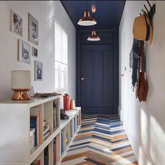 Multicolor tile in herringbone pattern | ANNA O DESIGN (@annaodesign) on Instagram