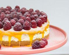 Mango Ripple Cheesecake with Fresh Raspberries. Soooo good!