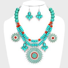 Chunky Boho Tribal Turquoise Coral Crystal Accent Collar Bib Pendant Necklace Earring Set. Get the lowest price on Chunky Boho Tribal Turquoise Coral Crystal Accent Collar Bib Pendant Necklace Earring Set and other fabulous designer clothing and accessories! Shop Tradesy now