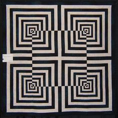 """Cherchez Le Diamante"" by Donna J. Inspired by the art of Hajime Ouchi. … ""Cherchez Le Diamante"" by Donna J. Inspired by the art of Hajime Ouchi. Photo by Nellie Durand: 2007 SMQ Guild Show. Illusion Kunst, Illusion Drawings, Illusion Art, Optical Illusion Quilts, Optical Illusions, 3d Quilts, Barn Quilts, Zentangle Patterns, Quilt Patterns"