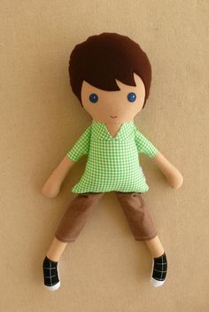 Fabric Doll Rag Doll Brown Haired Boy Doll in Green by rovingovine